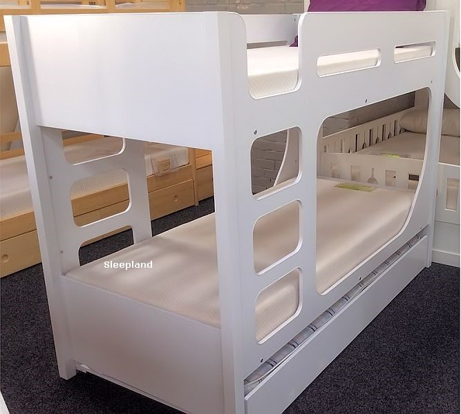 White Bunk Bed With Trundle Lolly Guest Bed Bunk Beds By Sleepland