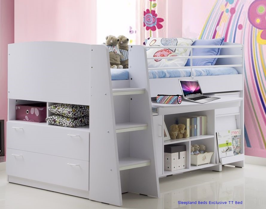 White cabin beds White Childrens Cabin Bed With Storage ... & White Childrens Cabin Beds | TT Midi Sleeper By Sleepland Beds