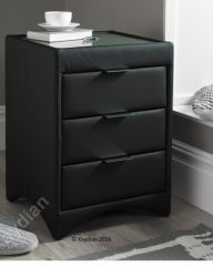 Kaydian three drawer fabric and leather bedside tables buy with oatmeal fabric bedside black leather bedside watchthetrailerfo