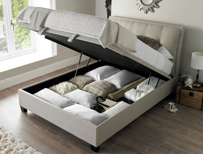 Kaydian Accent Ottoman Storage Bed Upholstered In Oatmeal Fabric