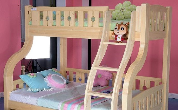 Handmade Carved Wooden Bunk Bed With Trundle At Sleepland Beds