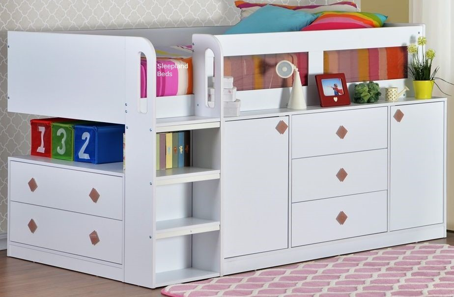 cosmos childrens and teenagers white midsleeper cabin bed white chlldrens midsleeper storage cabin bed