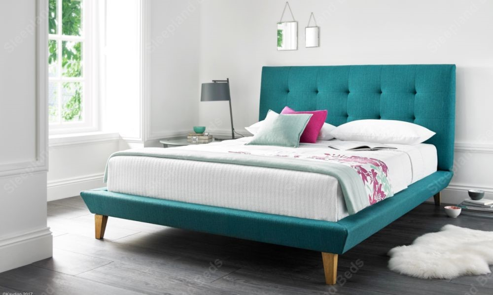 Marietta Teal Fabric Upholstered Bed Frame By Kaydian | 5ft Kingsize