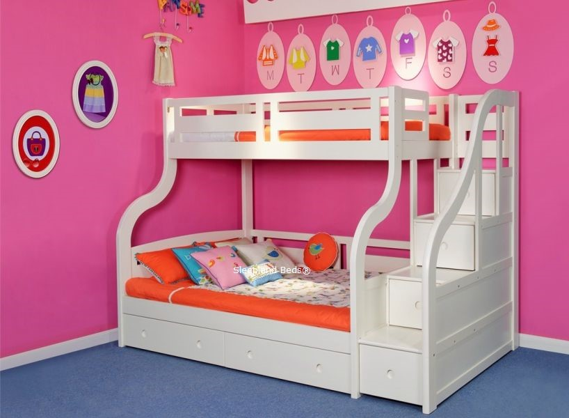 luxury solid wood white triple bunk bed with staircase and drawers