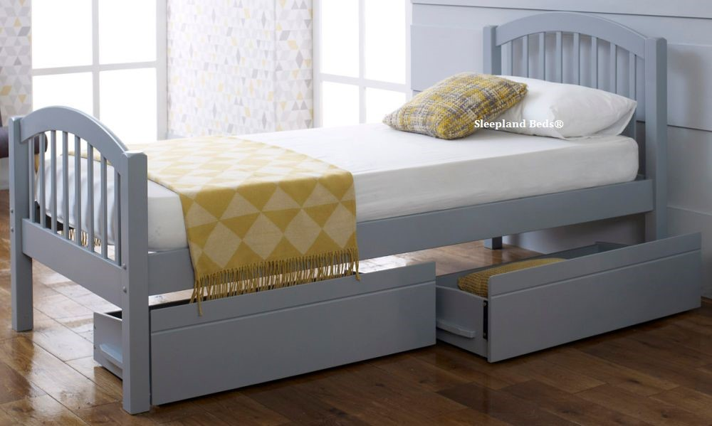 Grey Euro Single Wooden Bed Frame With Two Storage Drawers