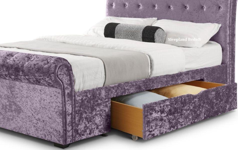 Julian Bowen Verona Bed Frame Crushed Velvet Lilac