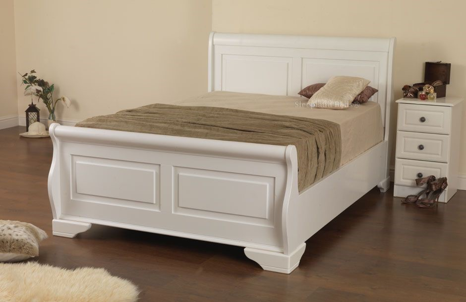 Sweet Dreams Jackdaw Bed White Wooden Sleigh Beds At Sleepland Beds