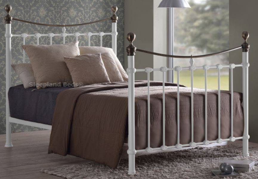 Elizabeth White And Brass Victorian Style Metal Bed Frame
