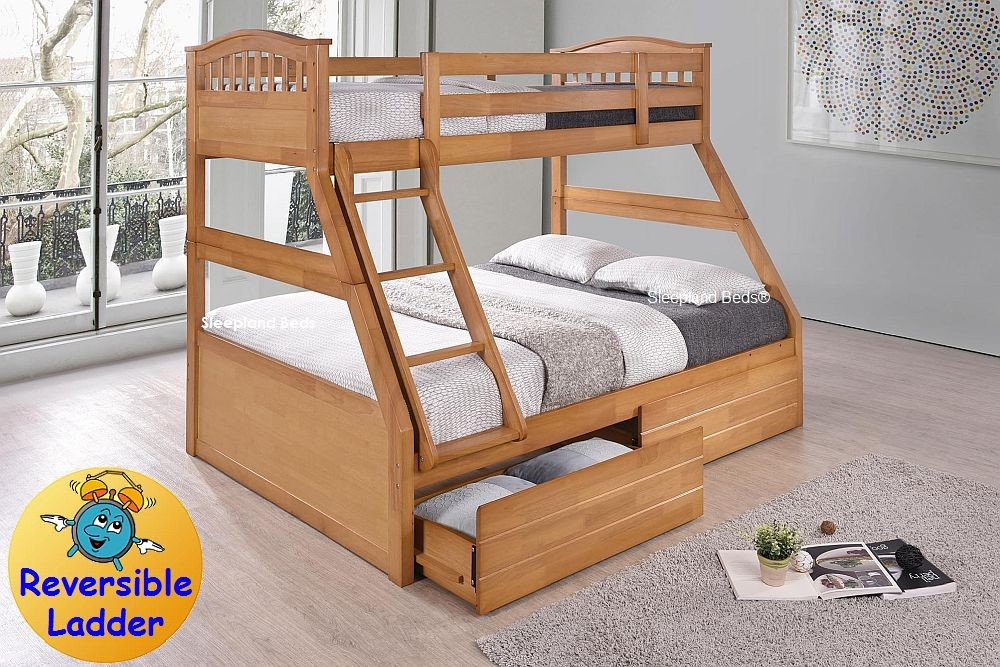 Maple Three Sleeper Cosmos Maple Triple Bunk Bed By Sleepland Beds