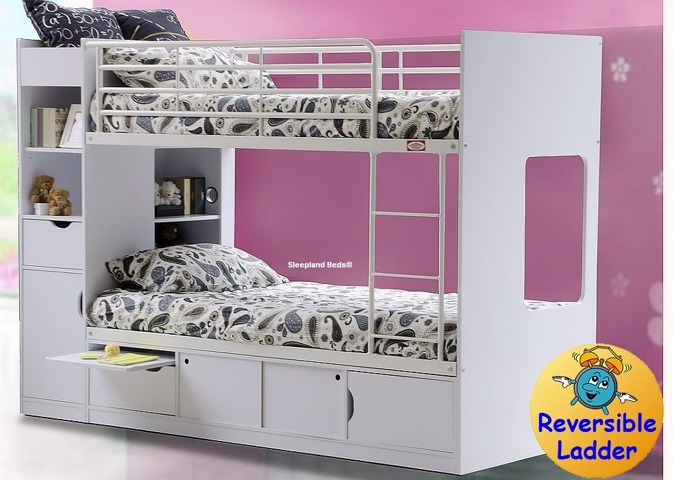 White Wooden Storage Bunk Beds Platinum By Sleepland Beds
