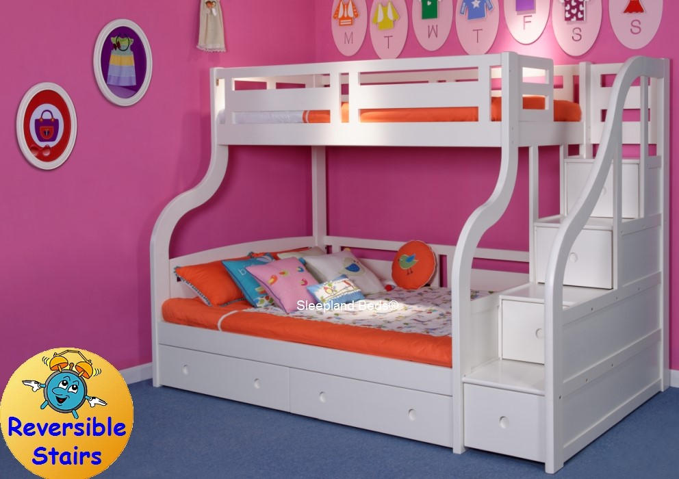 Luxury Carved Solid Wood White Triple Bunk Bed With Storage Stairs