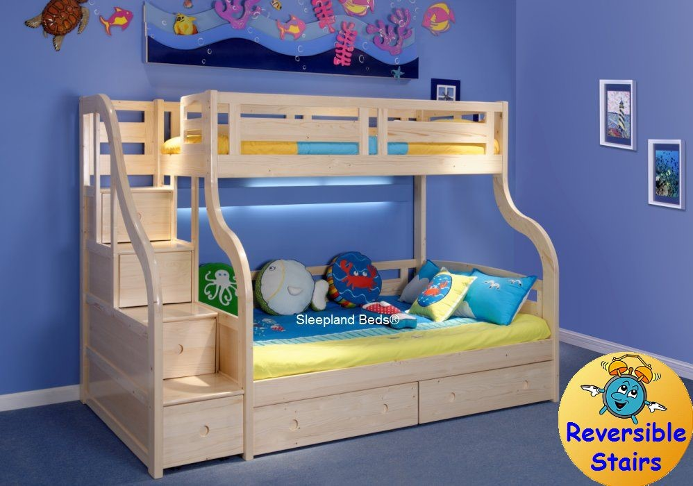 Luxury Carved Solid Pine Wood Double Bunk Beds With Staircase And