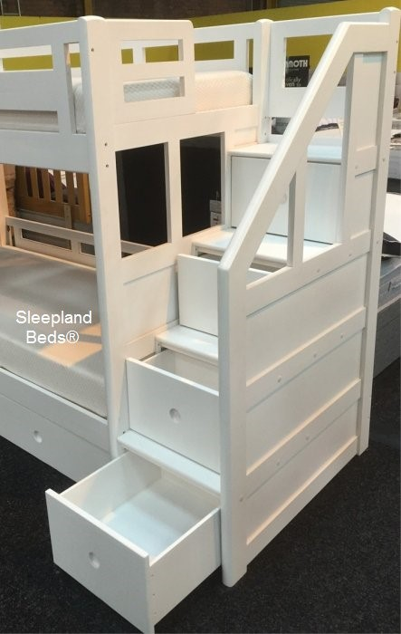 Luxury Carved Solid Wood White Bunk Bed Staircase Storage And Guest Bed