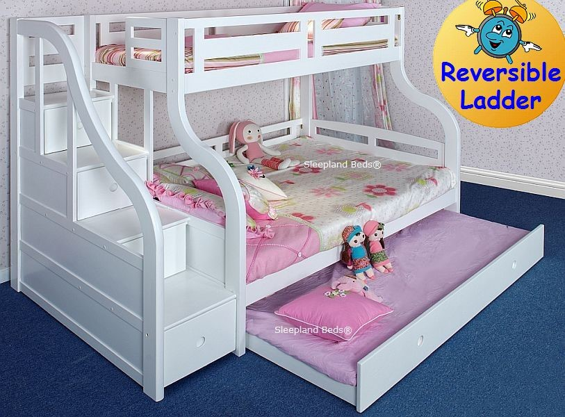 Luxury Carved Solid Wood White Triple Bunk Bed With Guest Bed