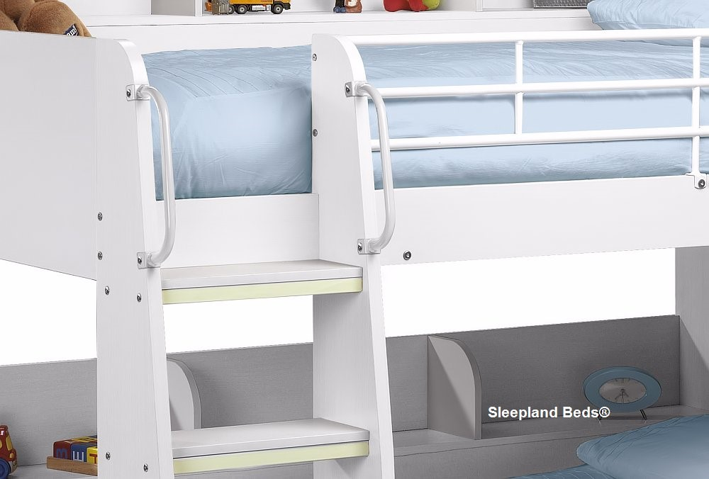 White Modern Childrens Bunk Bed With Shelves At Sleepland Beds