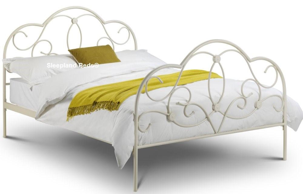 White Metal Kingsize Bed Frame Elegant Curves Sleepland Beds