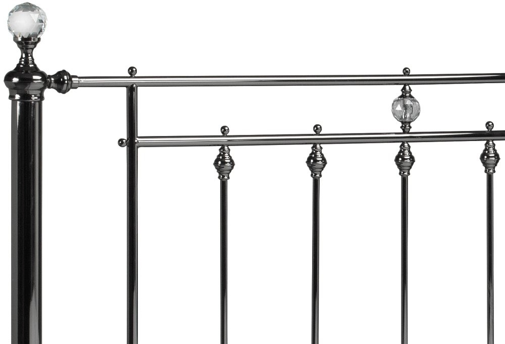 Black Nickel Mollie Metal Bed Frame With Crystals 4ft6
