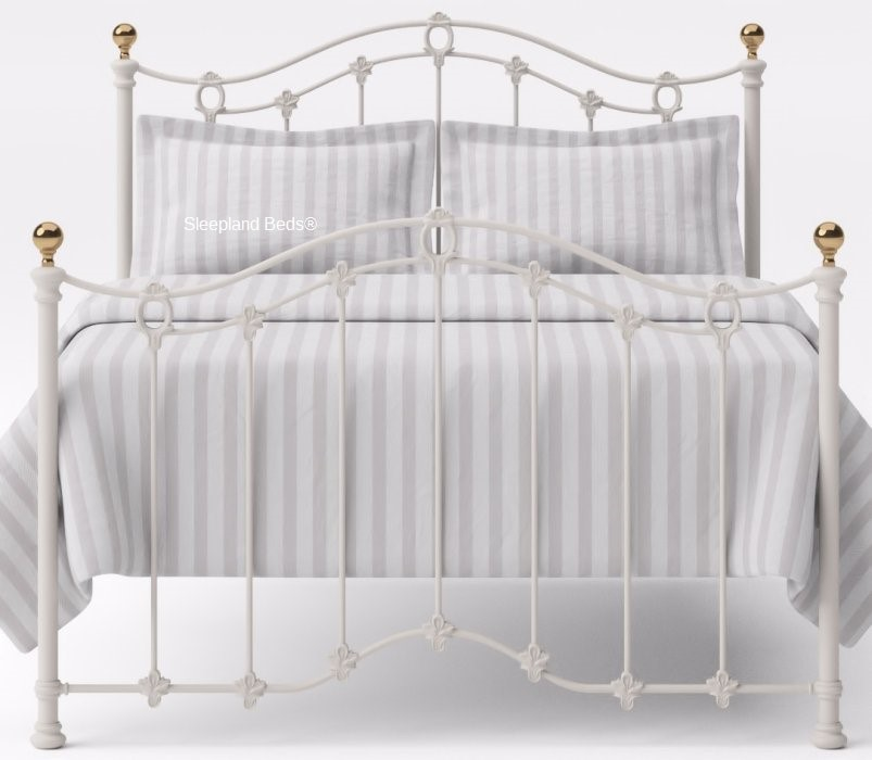 White or Ivory Cast Iron Flora Bed Frame With Brass - 5ft Kingsize