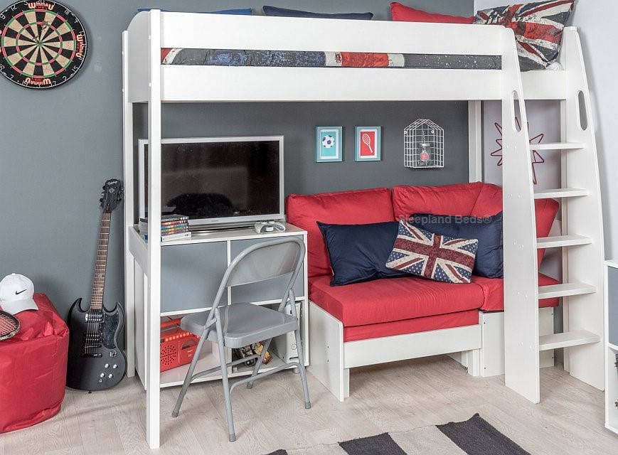 1cf70e4d7c5e Stompa Uno S Highsleeper With Red Sofa And Cube | Sleepland Beds