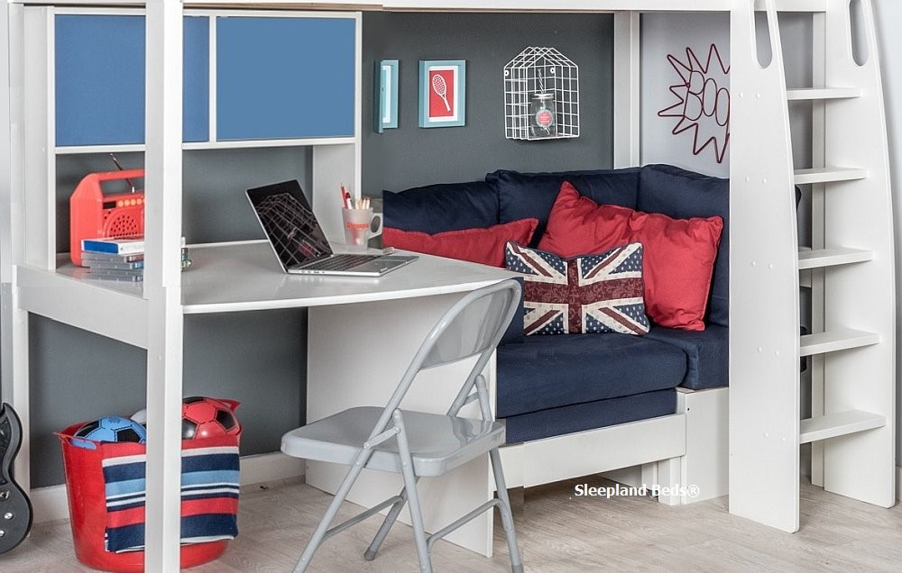 Stompa Uno S23 Highsleeper With Hutch Desk And Blue Sofa Bed