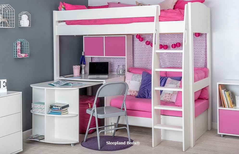 Stompa Uno S25 Highsleeper Fixed And Pullout Desk Hutch And Pink Sofa