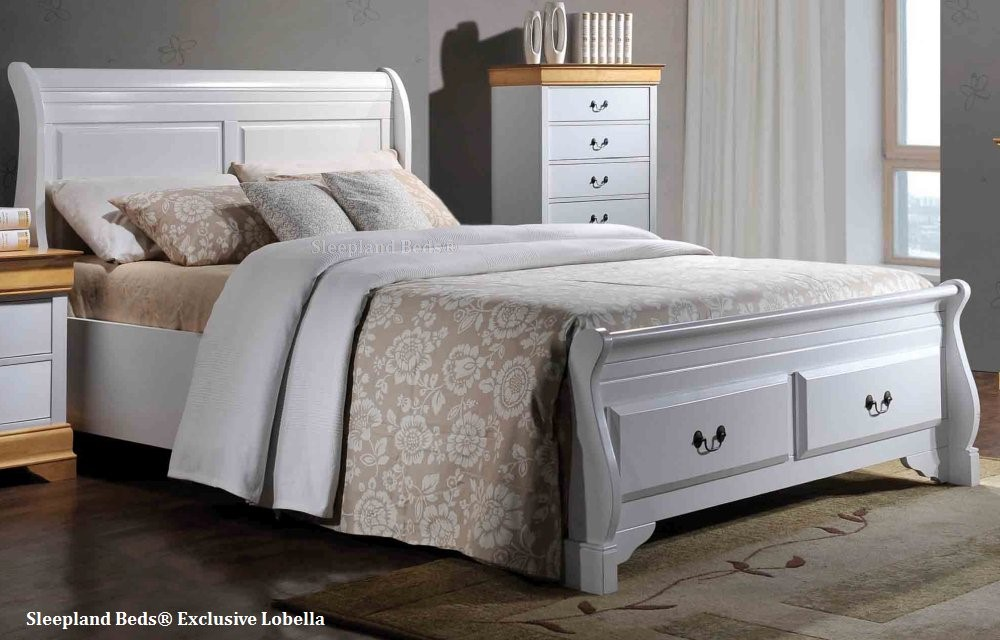 Lobella White Wooden Sleigh Bed Frame With Storage Drawers 5ft