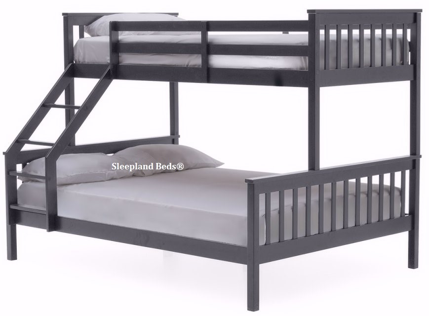 Vida Salix Grey Wooden Triple Bunk Bed 3ft And 4ft6 Double Beds