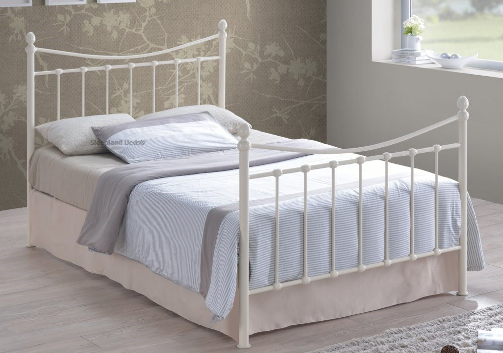 aeed8e4d4b4a Small Double Ivory Metal Bed Frame Small Double Ivory Gloss Metal Bed Frame  Ivory Metal Bedstead Time Living Alderley ...