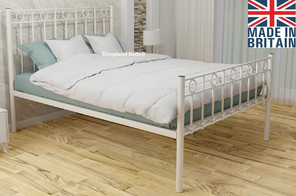Ivory Myrtille Wrought Iron Metal Bed, Wrought Iron Queen Platform Bed