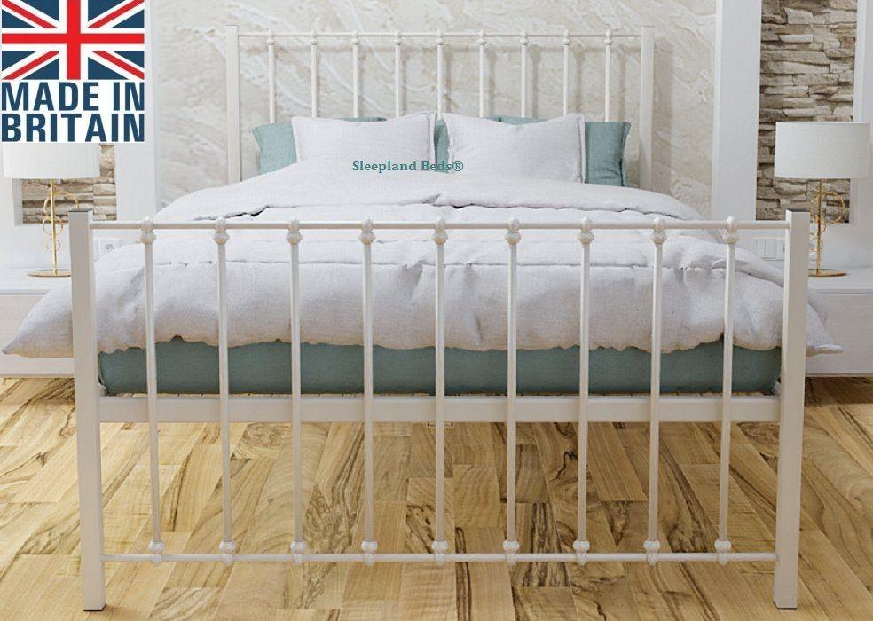 Ivory Keritona Wrought Iron Metal Bed, Wrought Iron Queen Platform Bed