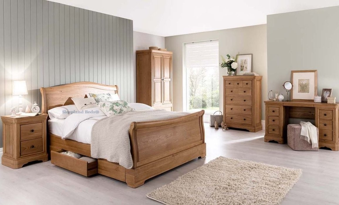 Picture of: Vida Carmen Bed Frame Oak Sleigh Bed With Two Drawers 5ft Kingsize