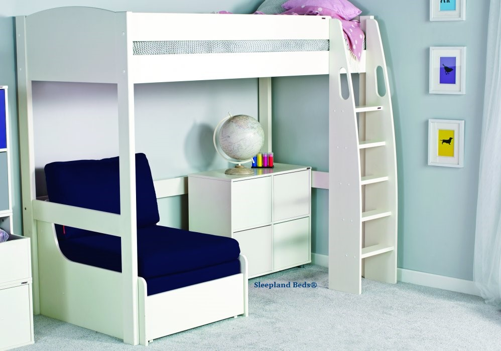 Pleasing Stompa Uno S10 White Highsleeper Bed With Blue Sofabed And Cube Theyellowbook Wood Chair Design Ideas Theyellowbookinfo