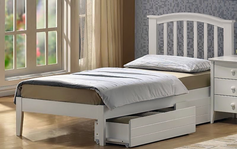 Joseph Lana White Wood Bed 4ft Small Double White Wooden Bed Frame