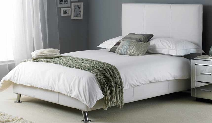 Hyder Milan White Leather Bed | 5ft Kingsize | White Faux Leather
