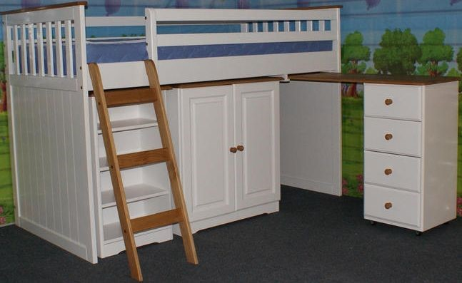 White Cabin Bed with Cupboard ... & White Cabin Bed - With Storage Cupboard - Desk - Drawers - Shelves