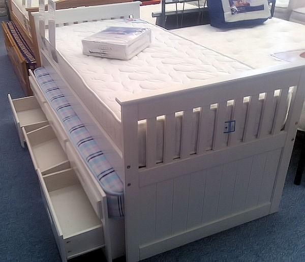White Captains Hideaway Guest Bed Amani Single Captains Bed