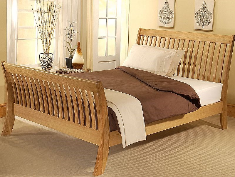 Signature Cordelia Solid Oak Wooden Sleigh Bed 5ft Kingsize Frame