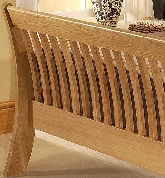 cordelia super kingsize oak wooden sleigh bed frame solid oak sleigh bed