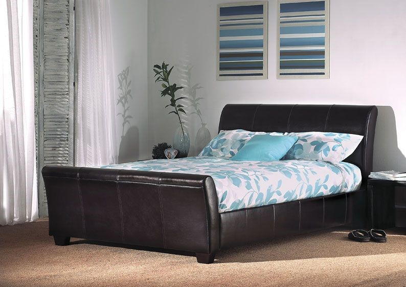 Limelight Orbit Deluxe Bed Real Leather Double Bed Frame