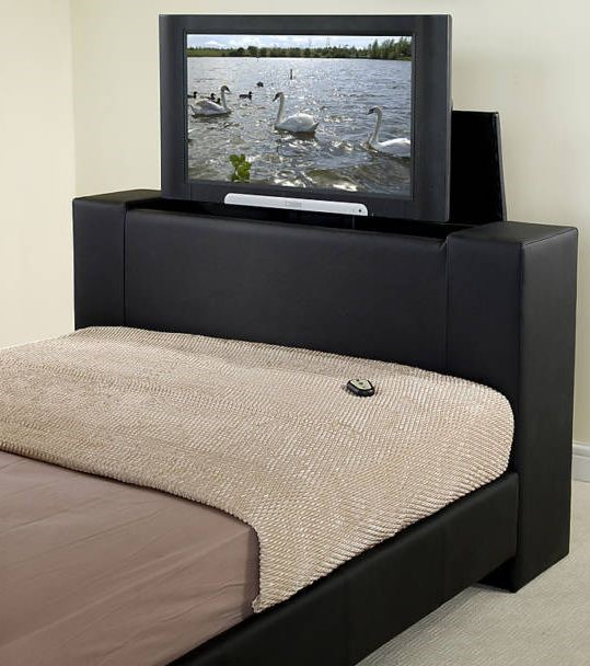 Super Kingsize Bed With Television Faux Leather TV BED 32
