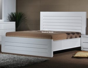 Bella High Gloss White Bed Frame Luxury White Wooden ...