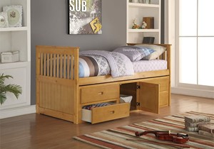 porto single oak captains bed with four storage drawers and cupboard