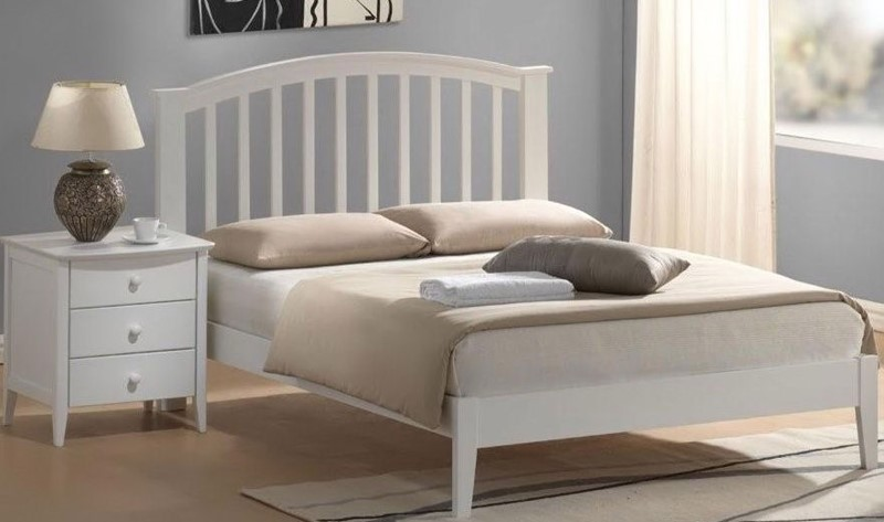 Etonnant Bright White Wooden Bed Frame   Double Lana Bed By Joseph