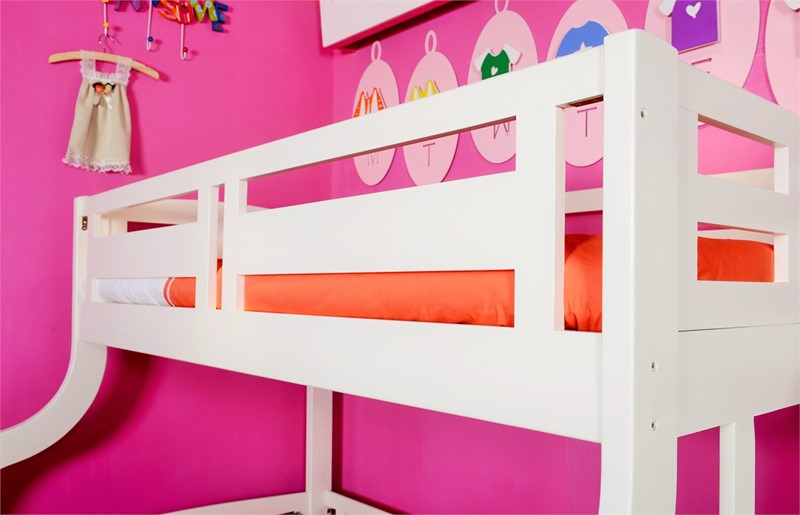 White Solid Wood Double Bunk With Staircase