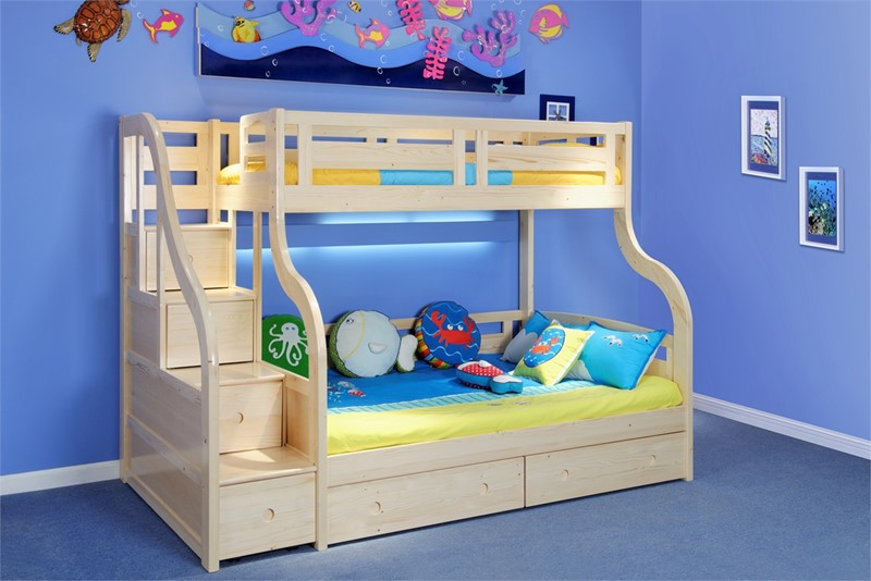 Luxury Solid Wood Pine Double Bunk Bed With Staircase