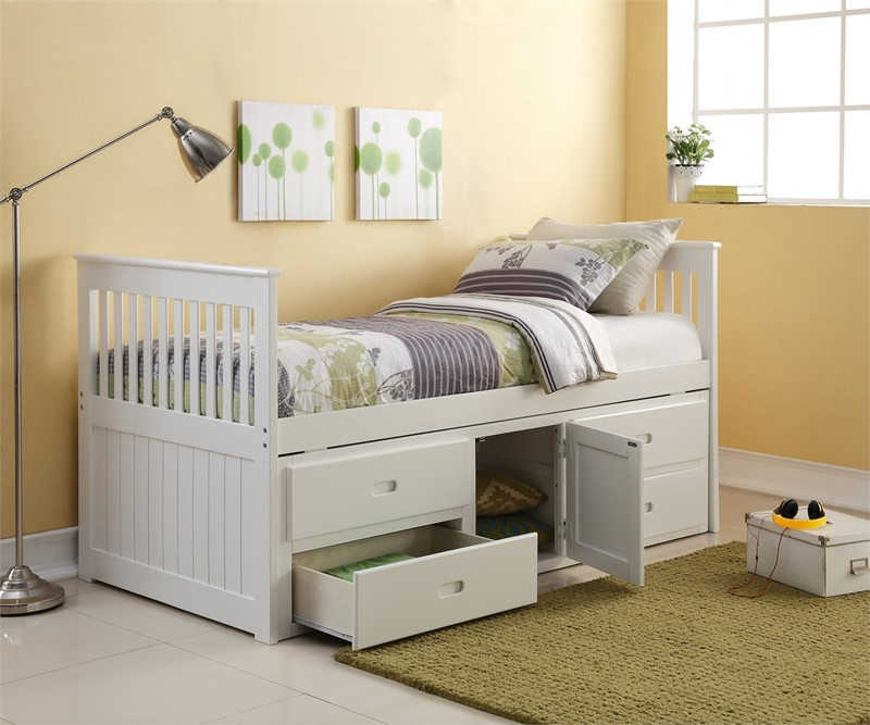 Single Bed With Storage Part - 26: Single White Captains Bed With Storage
