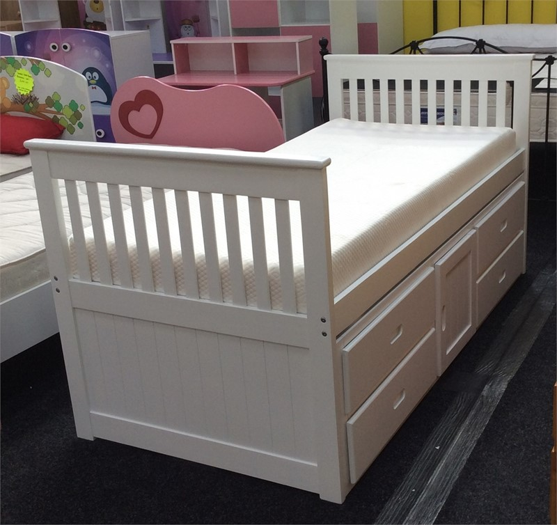 The Porto Captains Bed Single White Captains Storage Bed
