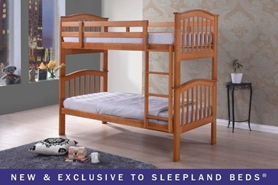 Wooden Bunk Beds With Sleepland Chester Standard Mattresses